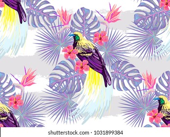 Seamless tropical pattern. Bird of paradise, tropical flowers, palm leaves, monstera, hibiscus flower, jungle leaf composition. Vector exotic plants botanical illustration. Summer design