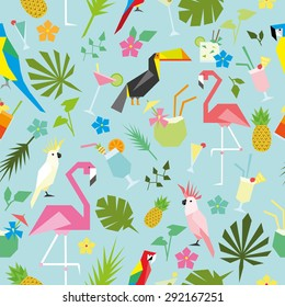 Seamless tropical pattern with birds and drinks 3
