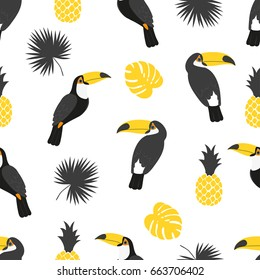 Seamless tropical pattern in black and yellow colors. Vector background with toucans, pineapples and palm leaves.