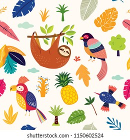 Seamless tropical pattern with cute sloth, parrots and tropical leaves