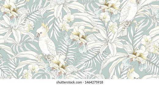 Seamless tropical pattern with flowers Orchid, Fleur de lis, leaves and Parrot Cockatoo. Vector illustration in vintage style.