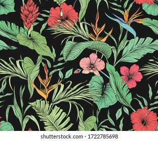Seamless tropical pattern with flowers and palm leaves