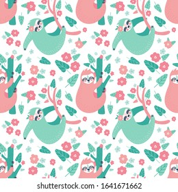 Seamless tropical pattern with funny sloths hanging on the tree. Adorable cartoon animal background. Rainforest set of cute sloths, flowers, leaves. Hand drawn design for fabric in scandinavian style