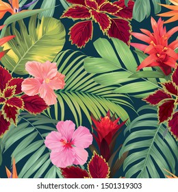 Seamless tropical pattern with guzmania, hibiscus flowers and palm leaves background. Vector set of exotic tropical garden for holiday invitation, greeting card and textile fashion design.