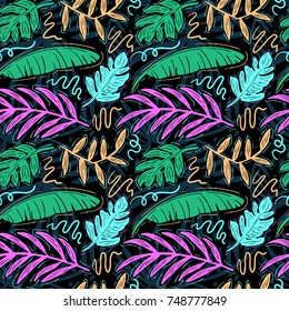 Seamless tropical pattern with hand drawn palm leaves and jungle plants