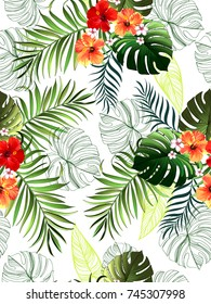 Seamless tropical pattern with hibiscus, palm leaves and flowers. Vector illustration.