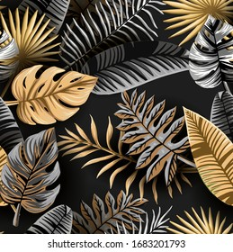 Seamless tropical pattern. Leaves palm tree illustration. Gold