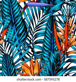 Seamless tropical pattern. Leaves palm tree illustration. Modern graphics. Bird in paradise.