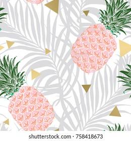 Seamless tropical pattern. Leaves palm tree illustration. Modern graphics. Pineapple fruit. Aloha.
