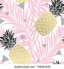 Seamless tropical pattern. Leaves palm tree illustration. Modern graphics. Pineapple fruit aloha.