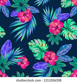 Seamless tropical pattern with luscious hibiscus, monstera and palms. Vector dark jungle print for swimwear, active wear, stationery.