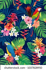 Seamless tropical pattern with macaw bird, guzmania, hibiscus flowers and palm leaves background. Vector set of exotic tropical garden for holiday invitation, greeting card and textile fashion design.