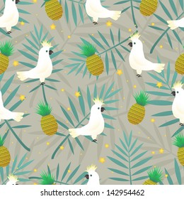 Seamless tropical pattern with palm and parrot