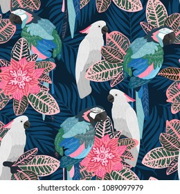 Seamless tropical pattern with parrots. Vector illustration