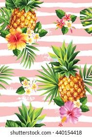 Seamless tropical pattern with pineapples, palm leaves and flowers on a striped background. Vector illustration.