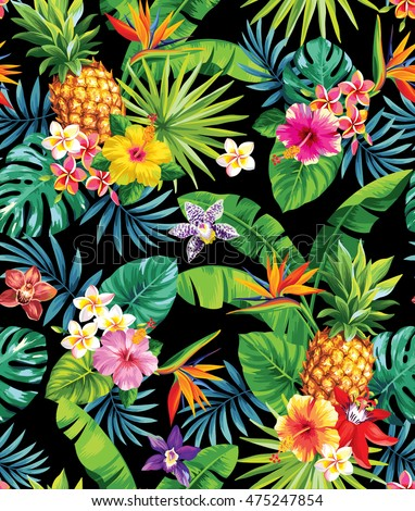 seamless tropical pattern pineapples palm leaves のベクター画像素材