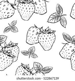 seamless tropical pattern with strawberry. Tasty fruit fresh black white sketch illustration