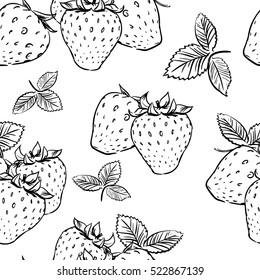 seamless tropical pattern with strawberry. Tasty fruit fresh black white sketch illustration