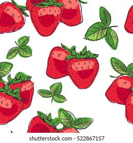 seamless tropical pattern with strawberry. Tasty fruit fresh color sketch illustration on white background