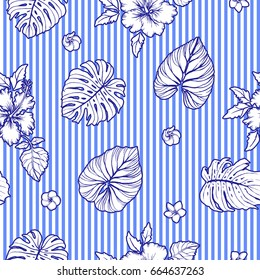 Seamless tropical pattern with stripes. Modern graphics. Plumeria flowers, hibiscus.