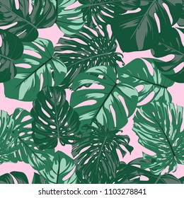 Seamless Tropical Pattern. Vector Monstera Leaves. Beautiful Hand-drawn Background with Philodendron. Exotic Illustration with Jungle Foliage. Seamless Tropical Pattern For Print, Textile, Fabric.