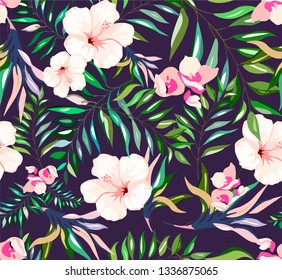 Seamless tropical pattern with white hibiscuses and exotic plants. Summer light pattern with beige and white lilies and hibiscuses, jungle brazil plants. Delicate pattern with blossoming flowers.