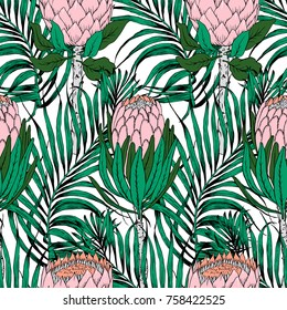 Seamless tropical pattern.Flower illustration. Modern graphics. Protea blossom. Home decor textile.