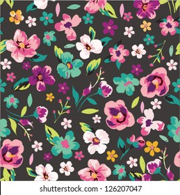 seamless tropical tiny flower background vector pattern