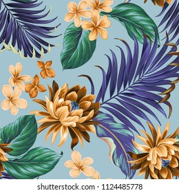 Seamless tropical vector aloha pattern with amazing stylish colors, lotus plumeria palms and ficus flowers. Aloha design.