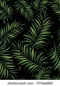 Seamless tropical vector pattern with palm leaves. Summer illustration. Template for web, textile, print design.