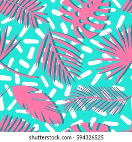 Seamless tropical vector pattern with tropical plants and palm leaves. Fashion pop art print for design.