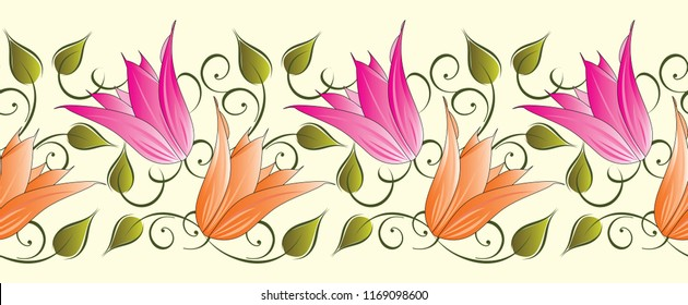 Seamless tulip floral border
