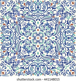 Seamless turkish colorful pattern. Endless pattern can be used for ceramic tile, wallpaper, linoleum, textile, web page background.
