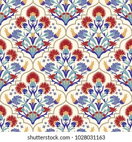 Seamless Turkish colorful pattern. Vintage multicolor pattern in Eastern style. Endless floral pattern can be used for ceramic tile, wallpaper, linoleum, textile, web page background. Vector