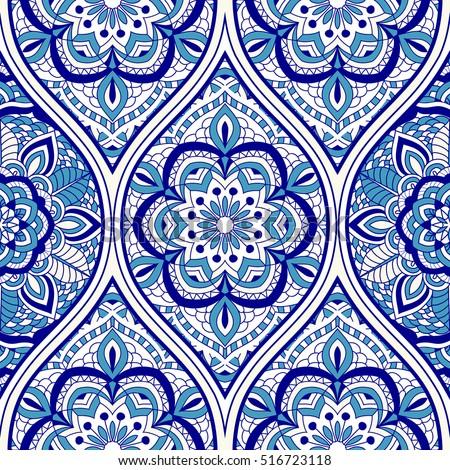 Seamless Turkish Pattern Blue White Endless Stock Vector Royalty Extraordinary Turkish Pattern