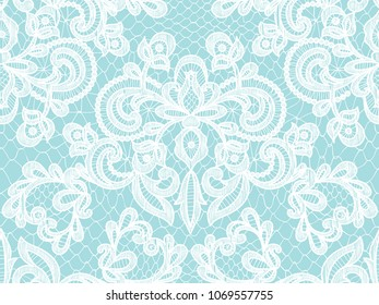 Seamless turquoise lace background with floral pattern