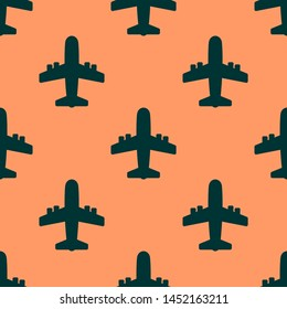 Seamless two color black airplane flat pattern on sandy brown background.