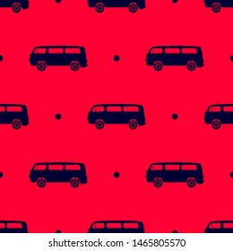 Seamless two color black microbus flat pattern on crimson background.