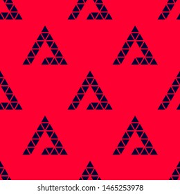 Seamless two color black triangle triangles flat pattern on crimson background.