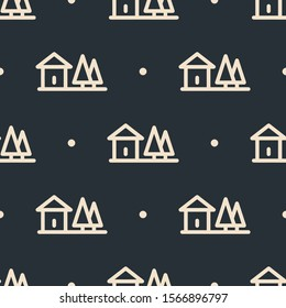Seamless two color blanched almond rural house flat pattern on dark slate gray background.