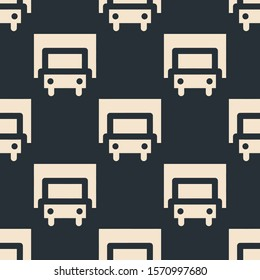 Seamless two color blanched almond truck flat pattern on dark slate gray background.