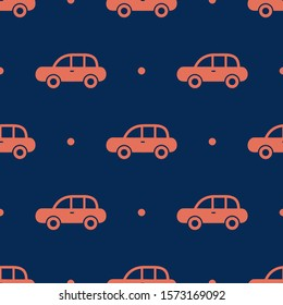 Seamless two color coral car side view flat pattern on midnight blue background.
