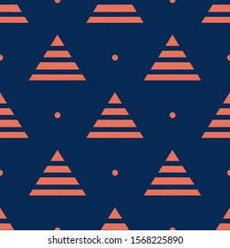 Seamless two color coral triangle stripes flat pattern on midnight blue background.