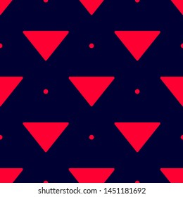 Seamless two color crimson arrow down filled triangle flat pattern on black background.
