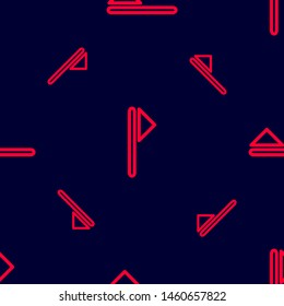 Seamless two color crimson flag triangle pole outline flat pattern on black background.