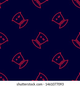 Seamless two color crimson jason voorhees bag flat pattern on black background.