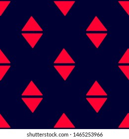 Seamless two color crimson triangles forming arrow up down flat pattern on black background.