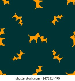 Seamless two color dark orange couple dogs flat pattern on midnight blue background.