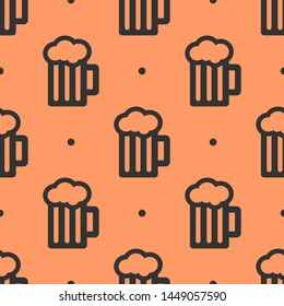 Seamless two color dark slate grey beer mug flat pattern on light salmon background.
