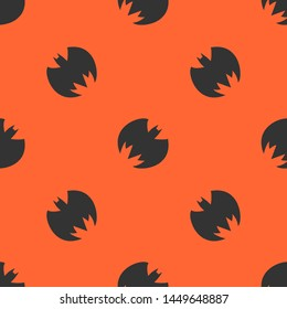 Seamless two color dark slate gray batman silhouette flat pattern on tomato background.